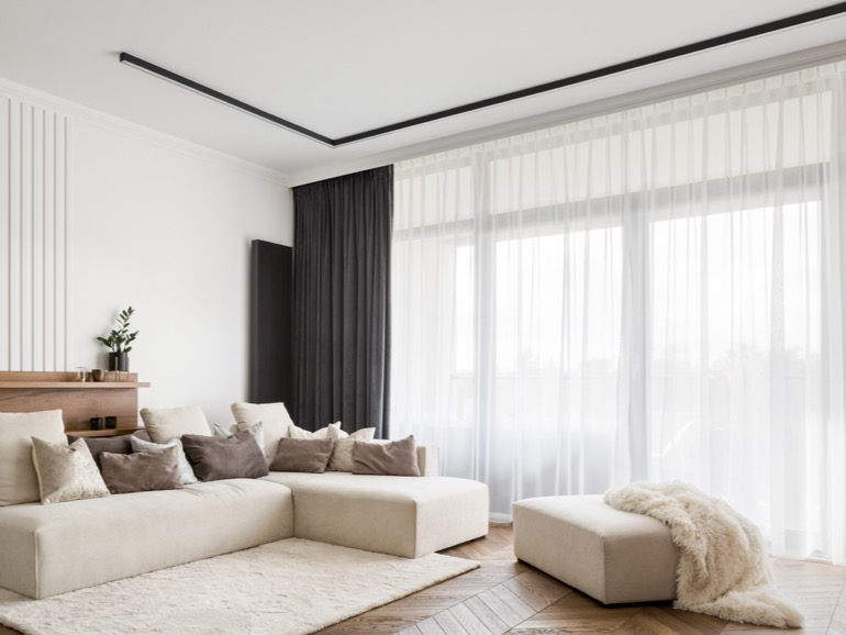 Living room sheer and blockout curtains